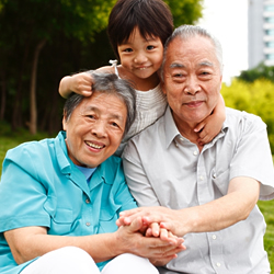 asian girl with grandparents